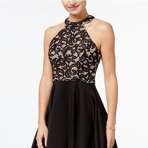 B Darlin Halter-Neck Black Lace Dress